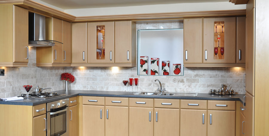 Kitchens worcester for Beech wood kitchen cabinets